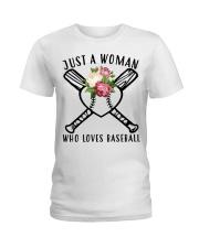 just a woman who loves baseball Ladies T-Shirt thumbnail