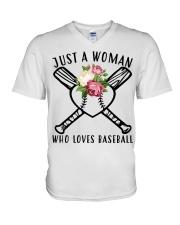 just a woman who loves baseball V-Neck T-Shirt thumbnail