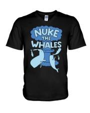Nuke the whales V-Neck T-Shirt thumbnail