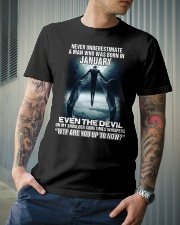 NEVER UNDERESTIMATE A MAN WHO WAS BORN IN JANUARY Classic T-Shirt lifestyle-mens-crewneck-front-6