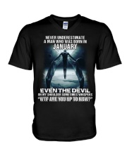 NEVER UNDERESTIMATE A MAN WHO WAS BORN IN JANUARY V-Neck T-Shirt thumbnail