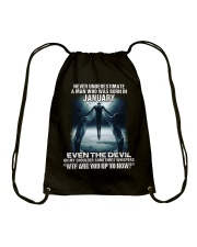 NEVER UNDERESTIMATE A MAN WHO WAS BORN IN JANUARY Drawstring Bag thumbnail