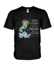 Mermaid I Ride Seahorses V-Neck T-Shirt tile