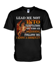 Dragon Lead Me Not Into V-Neck T-Shirt tile