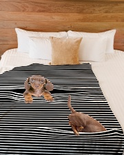 "Dachshund Inside Blanket Large Fleece Blanket - 60"" x 80"" aos-coral-fleece-blanket-60x80-lifestyle-front-02"