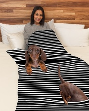"Dachshund Inside Blanket Large Fleece Blanket - 60"" x 80"" aos-coral-fleece-blanket-60x80-lifestyle-front-05"