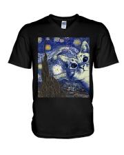 Cat Vangogh V-Neck T-Shirt tile
