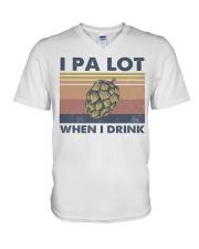 Beer IPA Lot When I Drink V-Neck T-Shirt tile