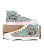 Fishing Flower Shoes Men's High Top White Shoes inside-right-outside-right