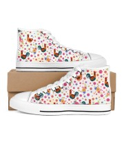 Chicken Flower Shoes Women's High Top White Shoes outside-right-inside-right