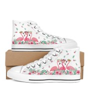 Flamingos Happy Together Men's High Top White Shoes thumbnail