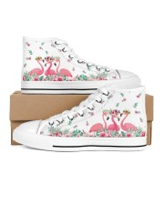 Flamingos Happy Together Women's High Top White Shoes thumbnail