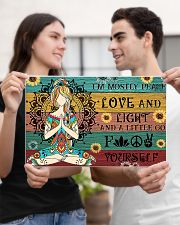 Yoga I'm Mostly Peace Love And Light 17x11 Poster poster-landscape-17x11-lifestyle-20