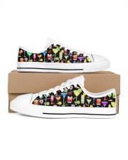 Cocktail Gin Pattern Shoes Women's Low Top White Shoes inside-left-outside-left