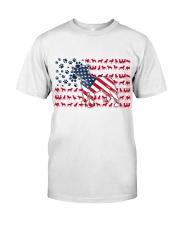 Pitbull Dog Flag Us Classic T-Shirt front