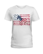 Pitbull Dog Flag Us Ladies T-Shirt tile
