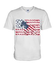 Pitbull Dog Flag Us V-Neck T-Shirt tile