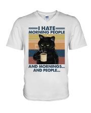Cat I Hate Morning People V-Neck T-Shirt tile
