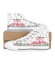 Flamingos Happy Together Men's High Top White Shoes tile