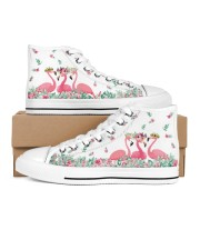 Flamingos Happy Together Women's High Top White Shoes tile