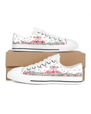 Flamingos Happy Together Women's Low Top White Shoes inside-left-outside-left