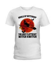 Cat Buckle Up Buttercup You Just Flipped Ladies T-Shirt tile