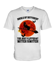 Cat Buckle Up Buttercup You Just Flipped V-Neck T-Shirt tile