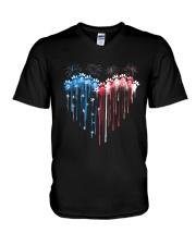 Dog Heart Flag V-Neck T-Shirt tile