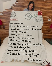 """Family To My Daughter Large Fleece Blanket - 60"""" x 80"""" aos-coral-fleece-blanket-60x80-lifestyle-front-04"""