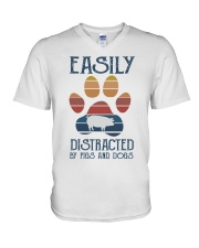 Pigs Easily Distracted V-Neck T-Shirt tile