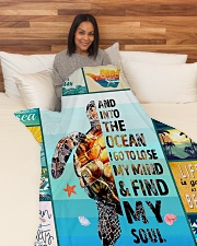 """Turtle And Into The Ocean I Go Blanket Large Fleece Blanket - 60"""" x 80"""" aos-coral-fleece-blanket-60x80-lifestyle-front-05"""