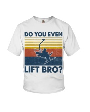 Skiing Do You Even Lift Bro Youth T-Shirt tile