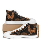 Chickens Mandala Pattern Shoes Women's High Top White Shoes outside-right-inside-right