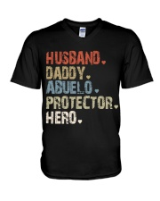 Father Hero Protector Hero V-Neck T-Shirt tile