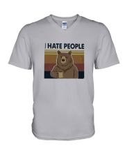 I Hate People Bear V-Neck T-Shirt thumbnail