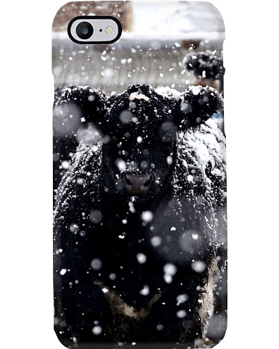 SNOWY BLACK ANGUS PHONE CASE