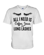 All I Need Is Coffee Jesus and Long Lashes T-shirt V-Neck T-Shirt thumbnail