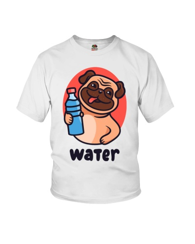 Pug drink water Cartoon Youth T-shirt for children