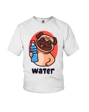 Pug drink water Cartoon Youth T-shirt for children Youth T-Shirt front
