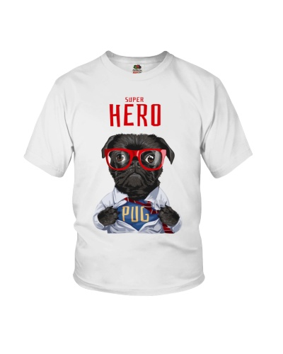 Pug Super Hero Youth T-shirt for Children