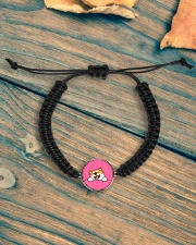 Ugly Shiba inu Happy Face Cord Circle Bracelet aos-bracelet-cord-front-lifestyle-4