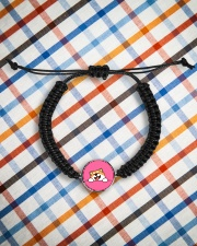 Ugly Shiba inu Happy Face Cord Circle Bracelet aos-bracelet-cord-front-lifestyle-9