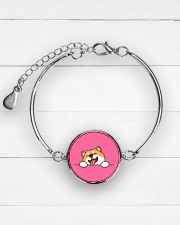 Ugly Shiba inu Happy Face Metallic Circle Bracelet aos-bracelet-metal-front-lifestyle-2