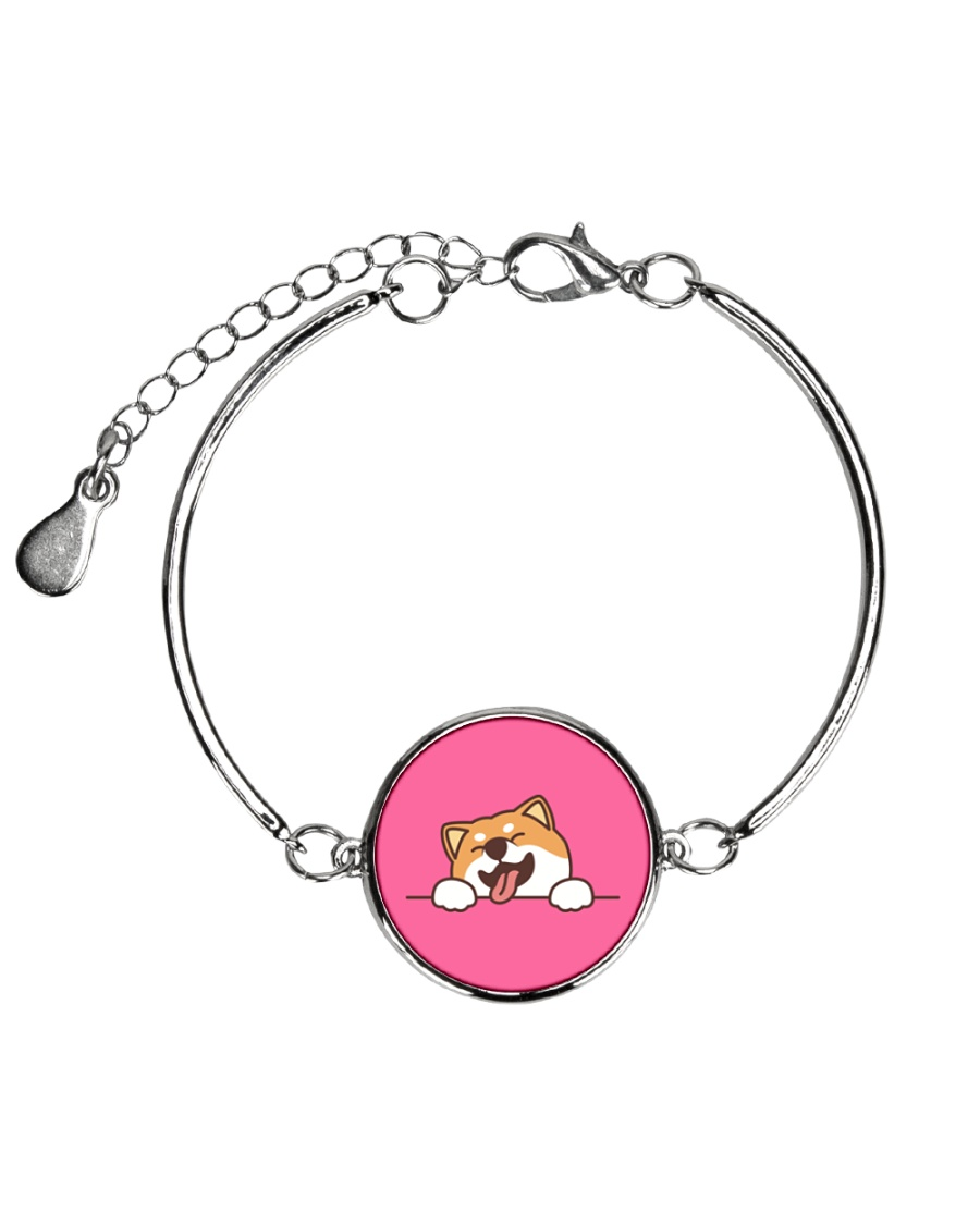 Ugly Shiba inu Happy Face Metallic Circle Bracelet