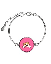 Ugly Shiba inu Happy Face Metallic Circle Bracelet front