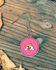Ugly Shiba inu Happy Face Circle Earrings aos-earring-circle-front-lifestyle-4