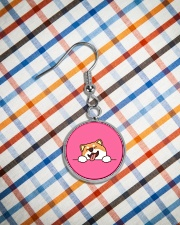 Ugly Shiba inu Happy Face Circle Earrings aos-earring-circle-front-lifestyle-9