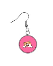 Ugly Shiba inu Happy Face Circle Earrings thumbnail