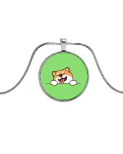 Ugly Shiba inu Happy Face Metallic Circle Necklace thumbnail