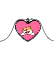 Ugly Shiba inu Happy Face Metallic Heart Necklace thumbnail
